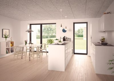 arkitekttegnet rækkehus køkken